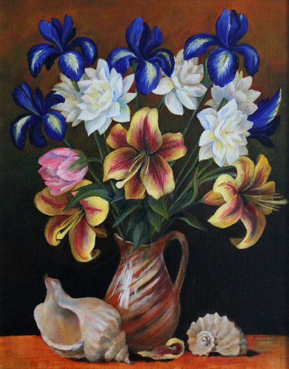 Still Life with Flowers and Seashell - Leonid Polotsky