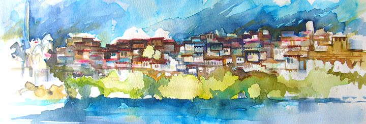 old town with river 2 - ArtDecorStudio