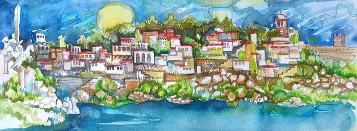 old town with river - ArtDecorStudio