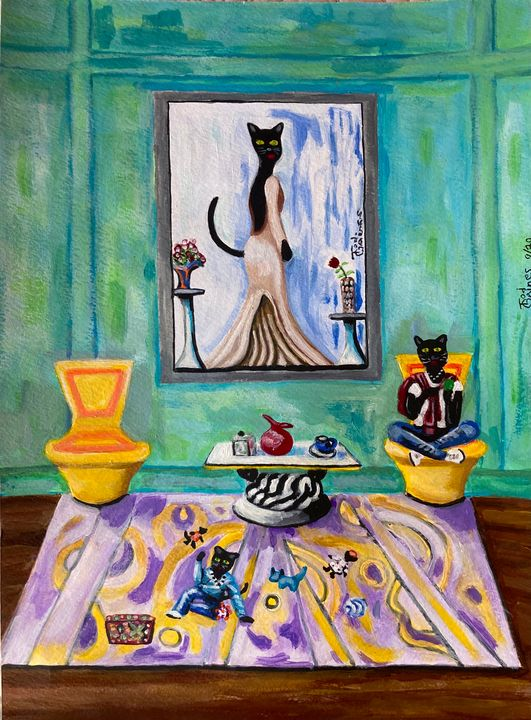 Puddie Cat relaxing with her princes - In And Out Of Abstract