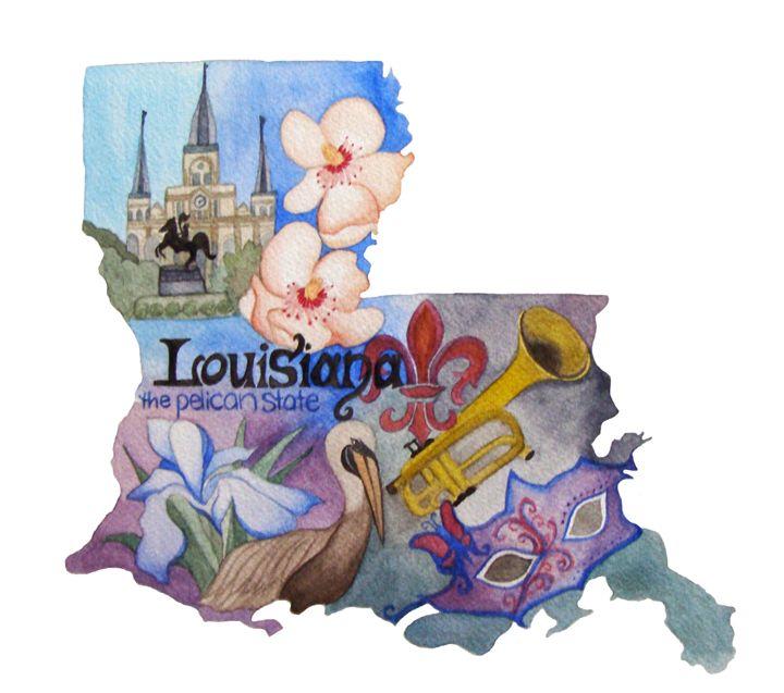 Louisiana the Pelican State - Bluebells & Butterflies