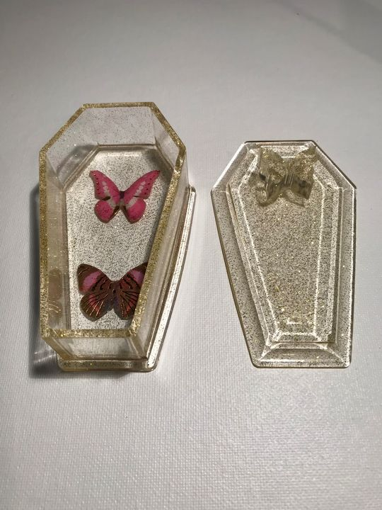 Butterfly Gold Coffin Trinket Box - InsomniArt by: Jason Burke
