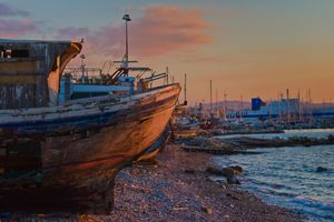 An abadoned fishing boat.