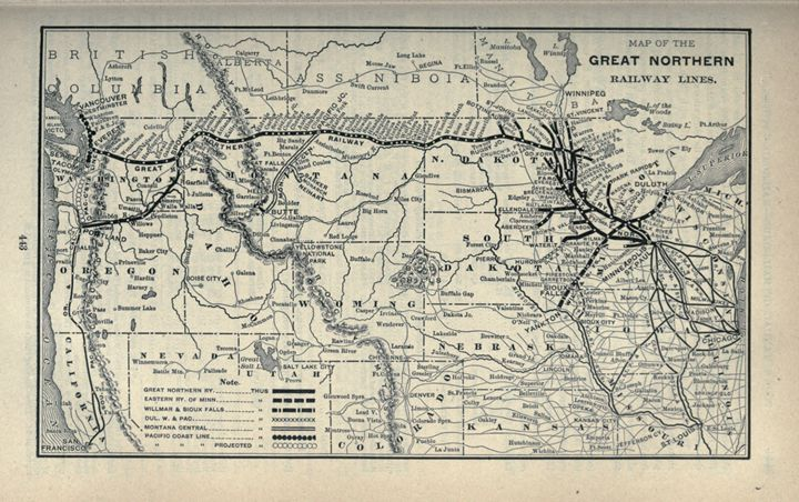 Great Northern Railway Lines Map - The Muirhead Gallery - Paintings ...