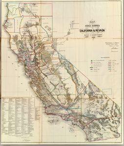 California Nevada vintage map - The Muirhead Gallery