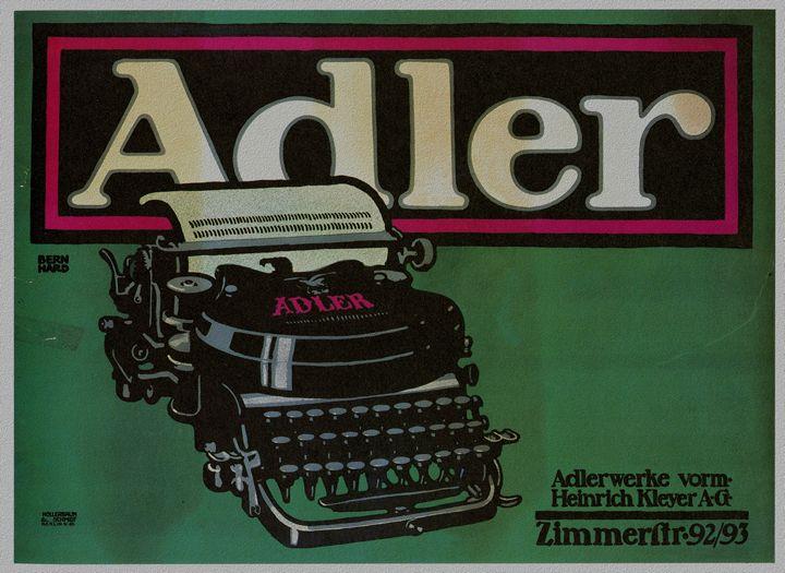 Vintage poster Adler typewriters - The Muirhead Gallery