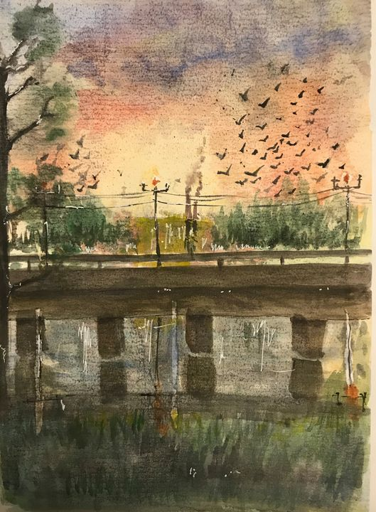 Bridge on a river - Madhur's art