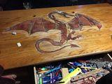 Inlaid oak desk