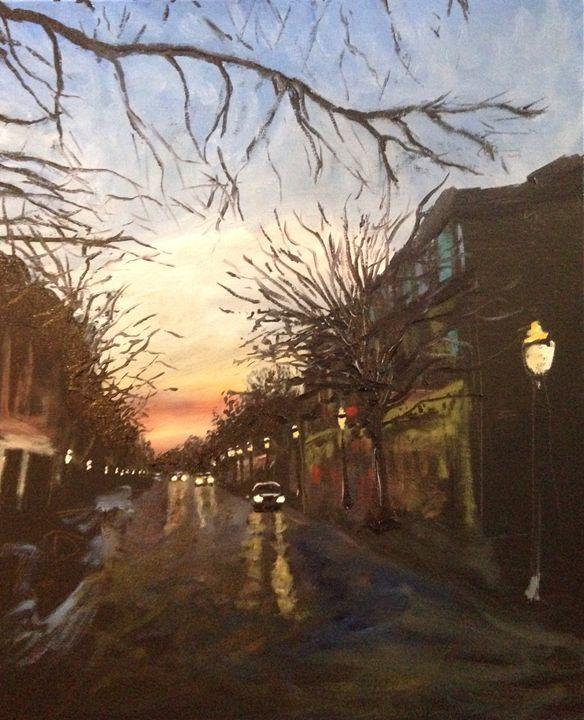 Trees on Dauphin Street, Sunset - Art of Adam Underwood