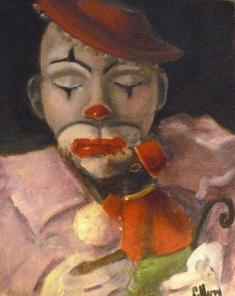 """Sad Clown "" - Cheryl Ann Hardy Fine Art"