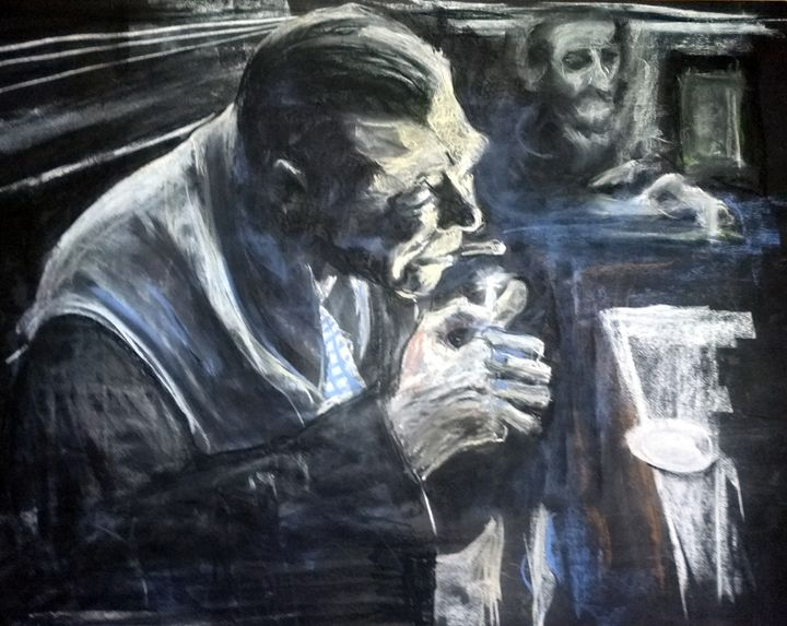 Man at bar - Pastels by Xochicotta