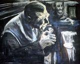Original pastel: Man at bar