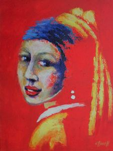 Girl With A Pearl Earring - Red