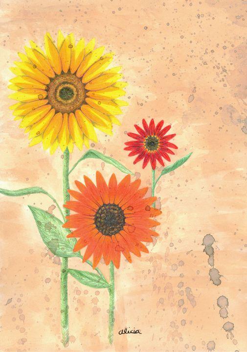 Sunflowers In Autumn Colored Pencil Splish Splash Art Drawings Illustration Flowers Plants Trees Flowers Flowers I Z Sunflowers Artpal