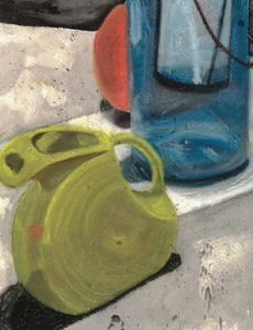 Blue Lantern and Green Watering Can