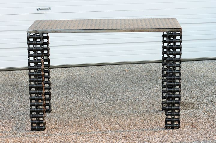 Industrial metal Sofa Table - Raymond Guest Metal Art at Recycled Salvage Design