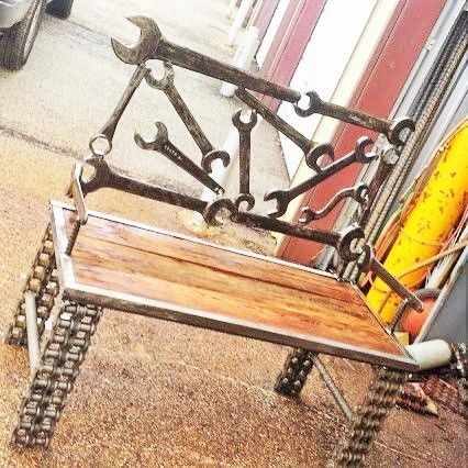 Recycled Salvage Wrench Bench - Raymond Guest Metal Art at Recycled Salvage Design