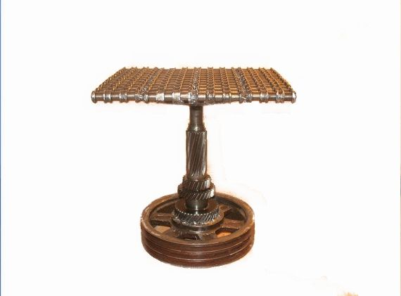 Industrial Steampunk End Table - Raymond Guest Metal Art at Recycled Salvage Design