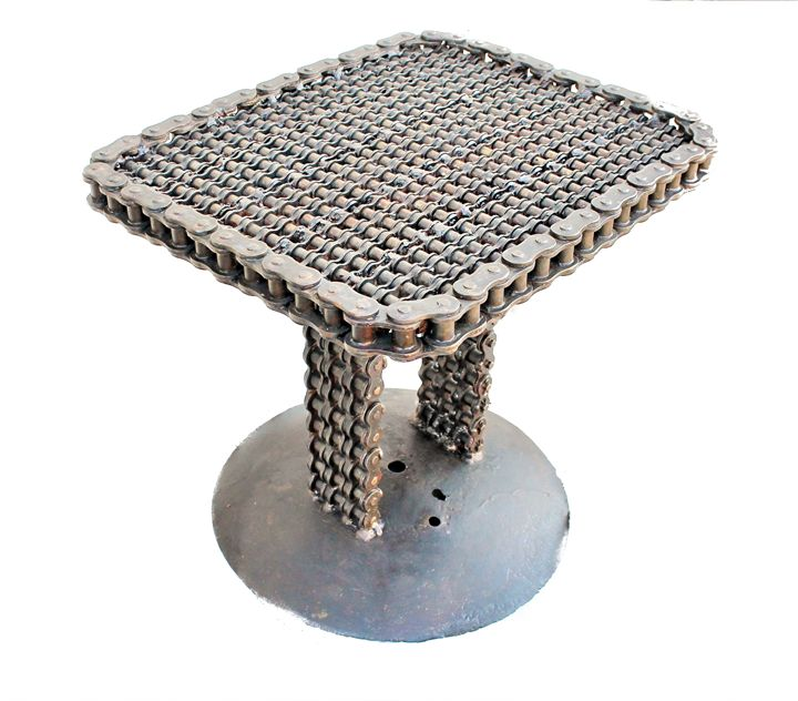 Steampunk Roller Chain Metal Table - Raymond Guest Metal Art at Recycled Salvage Design