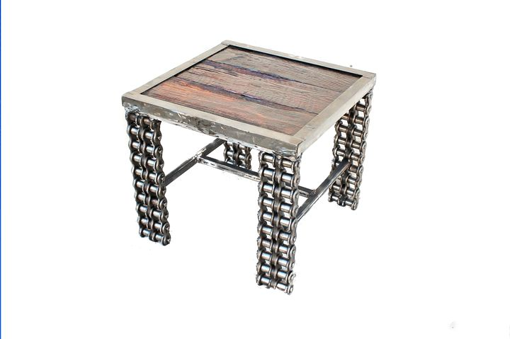 Rustic Reclaimed Wood Table - Raymond Guest Metal Art at Recycled Salvage Design