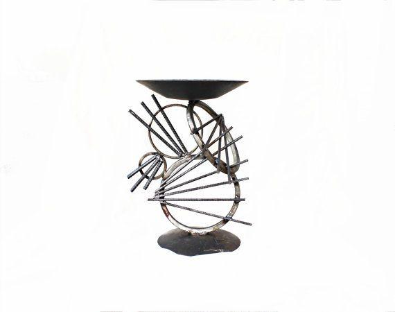 Modern Bird Bath Sculpture - Raymond Guest Metal Art at Recycled Salvage Design