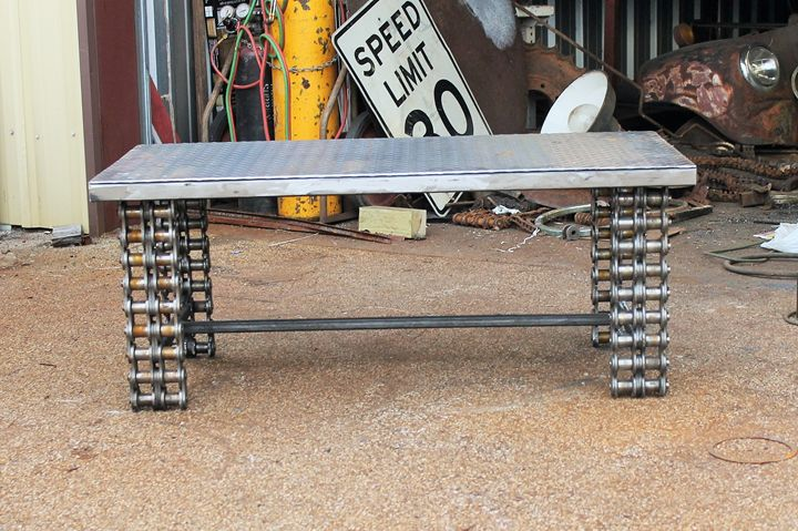 Industrial Metal Coffee Table - Raymond Guest Metal Art at Recycled Salvage Design