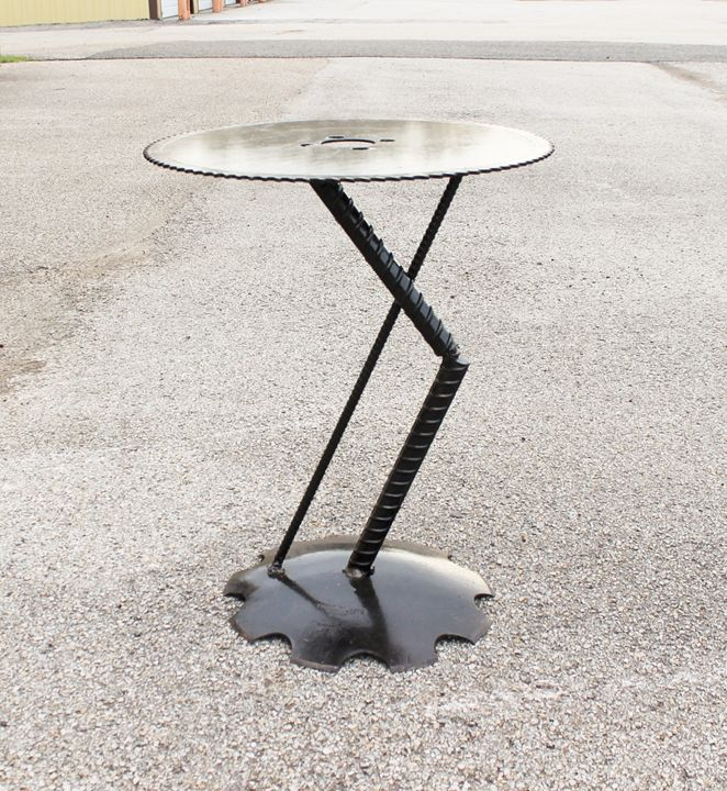 Modern Art End Table - Raymond Guest Metal Art at Recycled Salvage Design