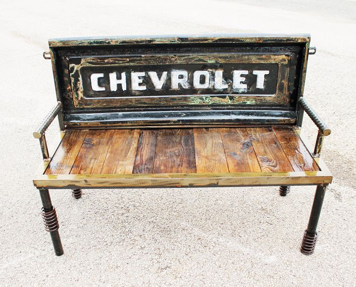Chevy Tailgate Bench - Raymond Guest Metal Art at Recycled Salvage Design