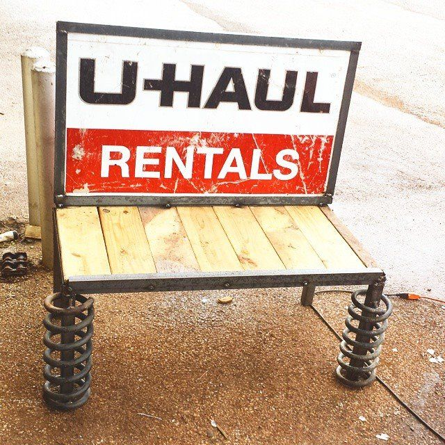 Recycled U Haul Garden Bench - Raymond Guest Metal Art at Recycled Salvage Design