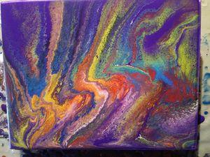 Multicolor acrylic paint pour