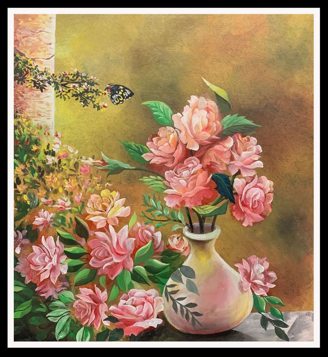 Roses and a Butterfly - DIOSO ARTIST