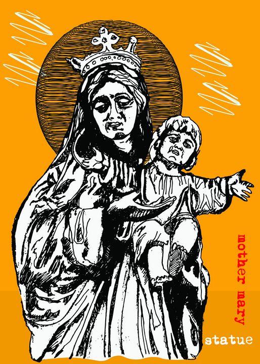 mother mary with jesus sketch art - kartick dutta