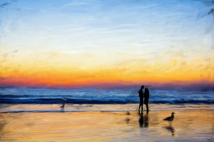 couple painting at sunset - kartick dutta