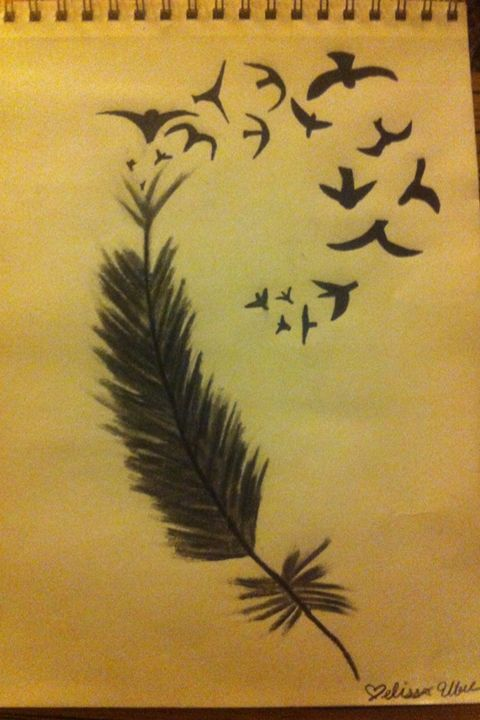 Charcoal feather and birds drawing - Treehuggingsisters