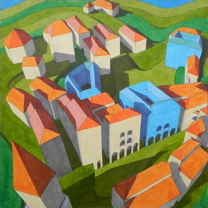 virtual model with blue houses - federico cortese