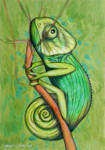 green chameleon - ORIGINAL SOLD - federico cortese