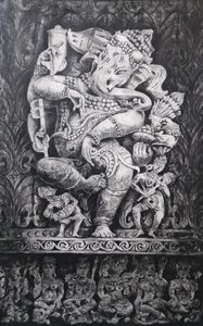 Dancing Ganesha. Fresh wall painting - Paint Brush