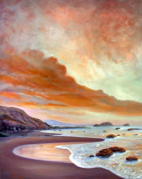 LATE AFTERNOON ON SAN SIMEON BEACH - MICHAEL ROCK