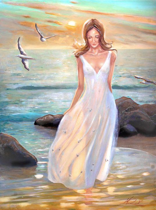 Lady walking on the beach - MICHAEL ROCK