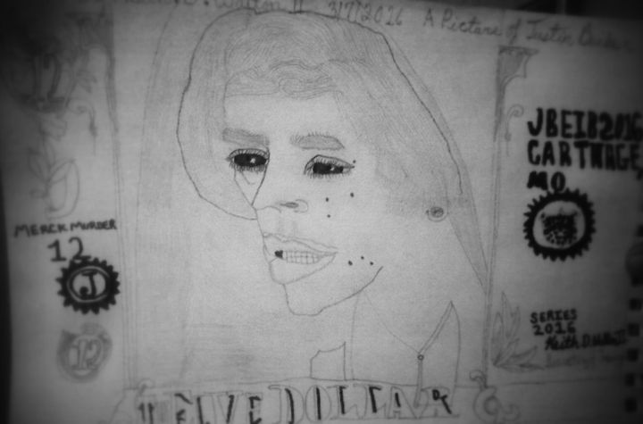 my drawing of justin beiber twelve b - iPhone art auction