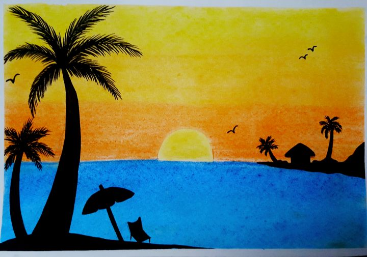 Beach Sunset - drawings by me ♥♥♥