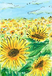 Sunflower Fields Forever - Happy Place Art