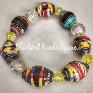 Big bead yellow and brown bracelet - Bluebirdbeadsbysue