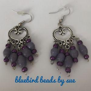 purple cluster, pierced earrings