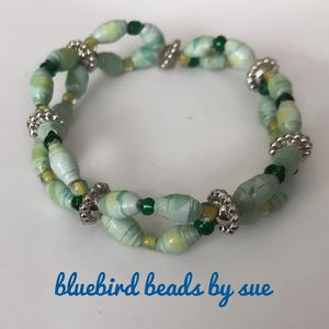 Green and yellow twist bracelet - Bluebirdbeadsbysue