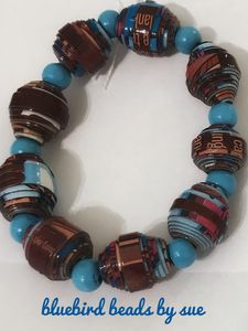 Cereal box brown and blue bracelet - Bluebirdbeadsbysue