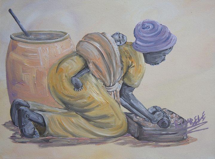 Grinding Corn - African Treasures