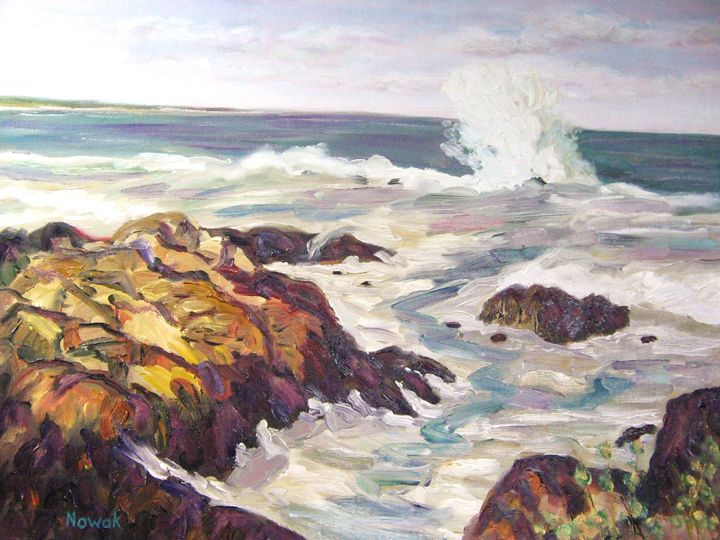 Maine Coast Waves with Rocks - Richard Nowak Fine Art