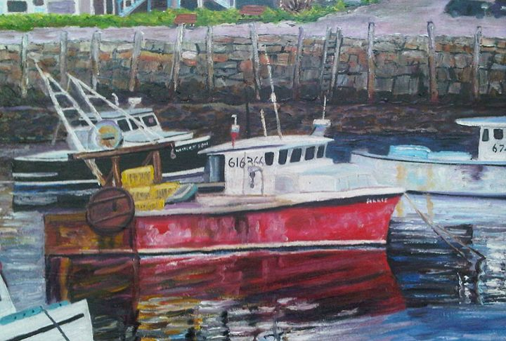 Red Boat Reflections - Richard Nowak Fine Art