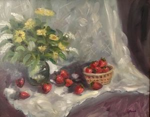 Strawberries and Lace Still Life